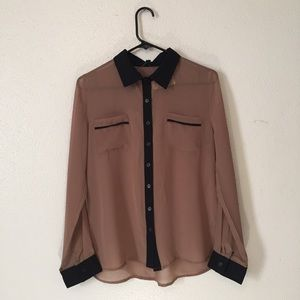 Mine Sheer Button Front Blouse